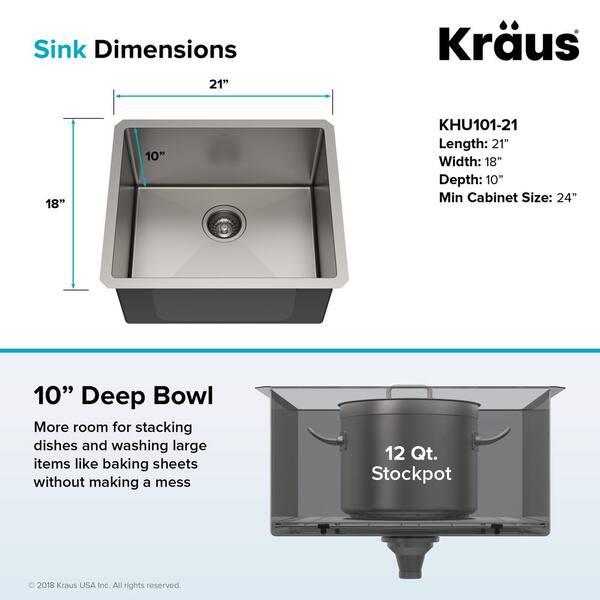 Kraus Standart Pro 16 Gauge Stainless Steel 21 In Undermount Bar Sink Khu101 21 The Home Depot