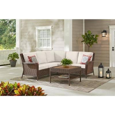 Cambridge 4-Piece Brown Wicker Outdoor Patio Sectional Sofa and Table with CushionGuard Almond Tan Cushions