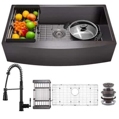 All-in-One Matte Black Finished Stainless Steel 33 in. x 22 in. Farmhouse Apron Mount Kitchen Sink with Faucet