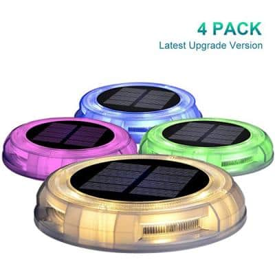 Solar Powered 4-lights America Style Color Deco LED Garden Fence Pool Porch Waterproof Lights (4PK)
