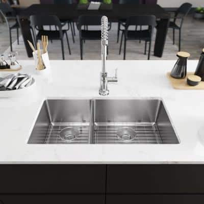 Undermount Stainless Steel 31-1/8 in. 40/60 Double Bowl Kitchen Sink Kit