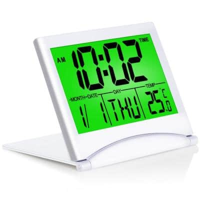 Silver Digital Travel Alarm Clock With Backlight Foldable Calendar and Temperature and Timer LCD Clock Battery Operated