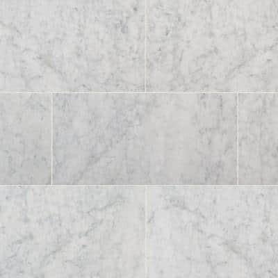 Carrara White 12 in. x 24 in. Polished Marble Floor and Wall Tile (12 sq. ft./Case)