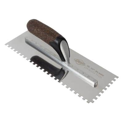 1/4 in. x 1/4 in. x 1/4 in. Cork Handle XL Stainless Steel Square-Notch Flooring Trowel