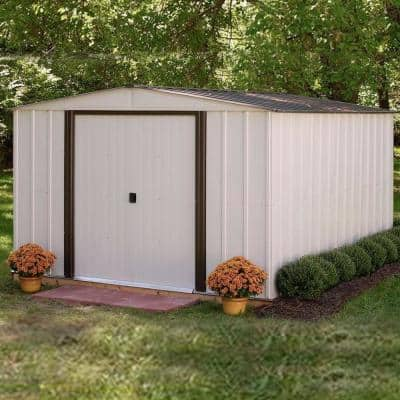 Newport 10 ft. x 12 ft. 2-Tone Eggshell and Coffee Galvanized Metal Shed with Sliding Lockable Doors