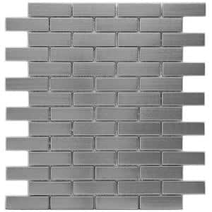 Meta Subway 10-1/2 in. x 12-1/4 in. x 8 mm Stainless Steel Metal Over Ceramic Mosaic Tile (0.9 sq. ft./Each)
