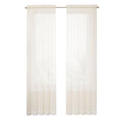 Voile 59 in. W x 63 in. L Sheer White Window Curtain in Ivory