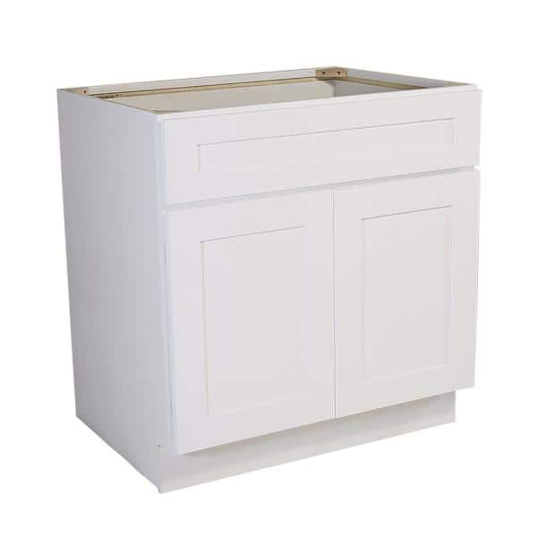 Design House Brookings Plywood Ready To Assemble Shaker 48x34 5x24 In 2 Door Base Kitchen Cabinet Sink In White 561514 The Home Depot