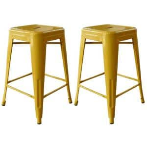 Loft Style 24 in. Stackable Metal Bar Stool in Gold (Set of 2)