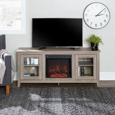 """58"""" Traditional Electric Fireplace TV Stand - Driftwood"""