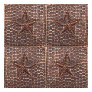 4 in. x 4 in. Hammered Copper Star Decorative Wall Tile in Oil Rubbed Bronze (4-Pack)