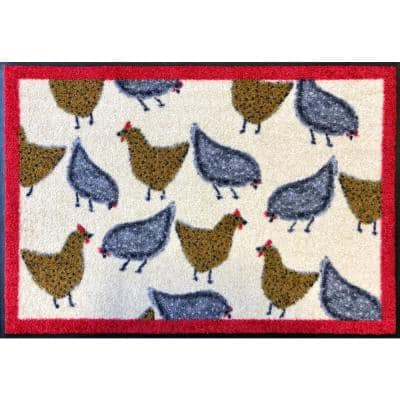 Whimsy Chickens 20 in. x 30 in. Nylon Doormat