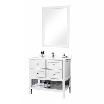36 in. W x 22 in. D Bathroom Vanity Set with Marble Countertop Grey