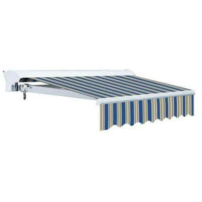 10 ft. Luxury L Series Semi-Cassette Electric w/ Remote Retractable Patio Awning (98 in. Projection) Blue/Beige Stripes