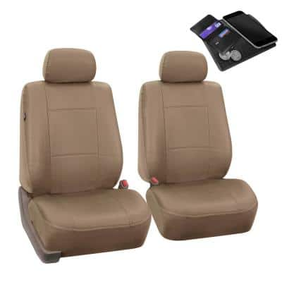Fh Group Pu Leather 47 In X 23 In X 1 In Multi Functional Quilted Front Seat Cushions Dmpu206tan102 The Home Depot