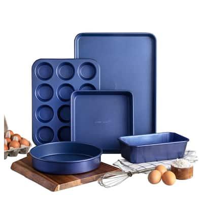 Classic Blue Pro 0.8MM Gauge Titanium and Diamond Infused Non-Stick 5 Piece Bakeware Set
