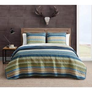 Yakima Valley 3-Piece Blue Striped Cotton Full/Queen Quilt Set