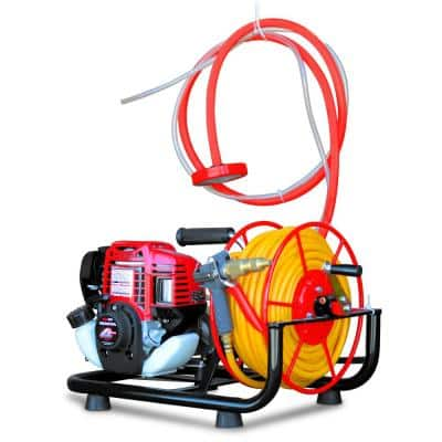 1.3 HP Skid Sprayer Barrel Mount Only with Honda GX35 100 ft. Hose and 500 PSI Pump for Pest Control