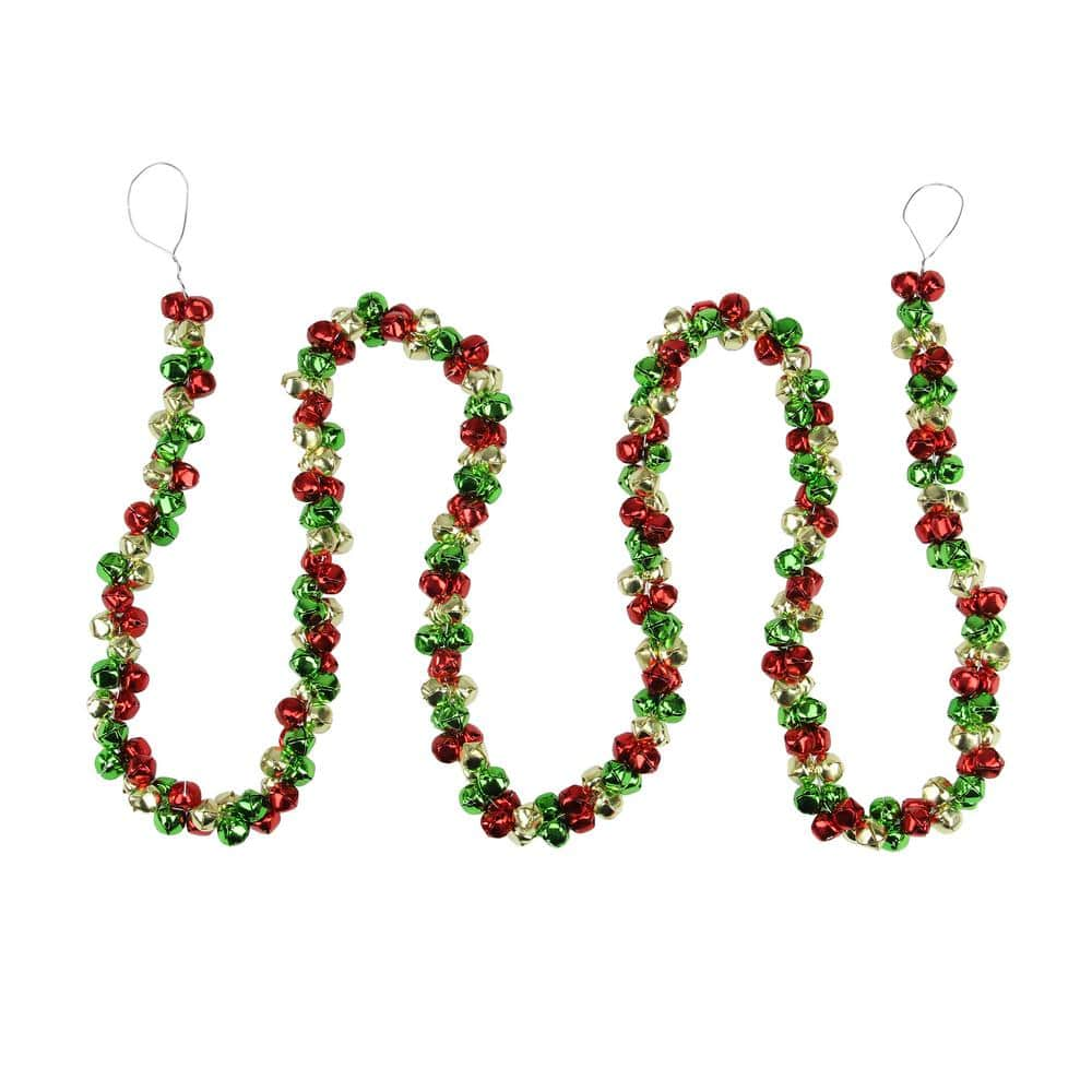 Northlight 5 Ft Red Green And Gold Jingle Bell Christmas Garland 33406632 The Home Depot