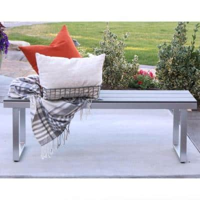 """50"""" Aluminum All-Weather Patio Outdoor Dining Bench - Grey"""