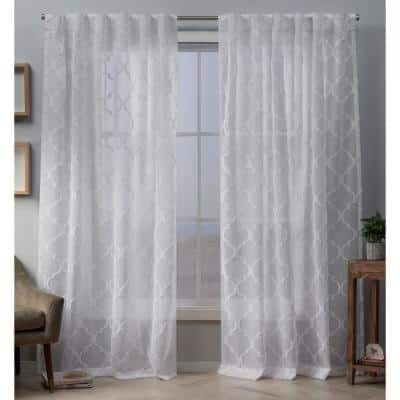 White Trellis Faux Linen Back Tab Sheer Curtain - 54 in. W x 96 in. L (Set of 2)