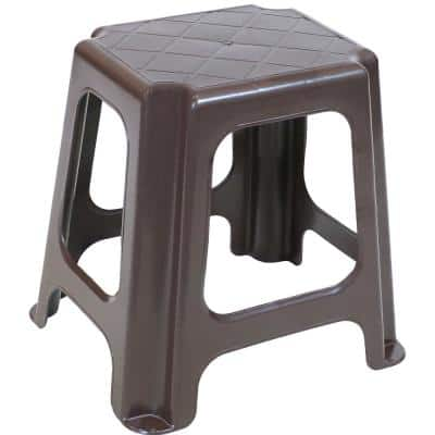 16 in. Brown Plastic Step Stool, 260 lbs. Weight Capacity