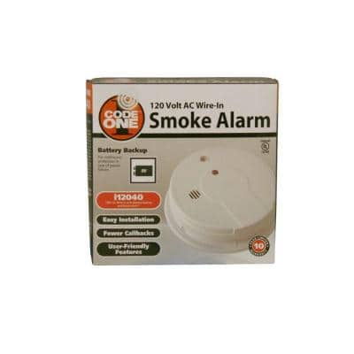 Code One Smoke Detector, Hardwired with 9-Volt Battery Backup, Smoke Alarm, 6-Pack
