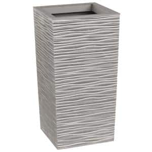 Serenity 13.5 in. W x 26 in. H Concrete Grey Color Rubber Self-Watering Planter