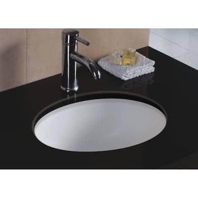 Rhythm Series 17 in. Oval Undermount Single Bowl Bathroom Sink in White