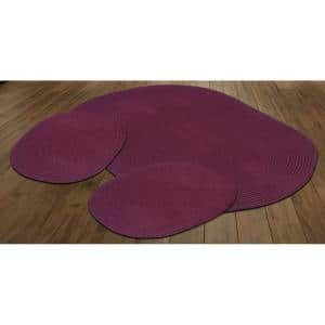 Country Braid Collection 3-Piece Burgundy Solid 100% Polypropylene Reversible Area Rug Set - (20''x30''/36''x60''/20''x30'')