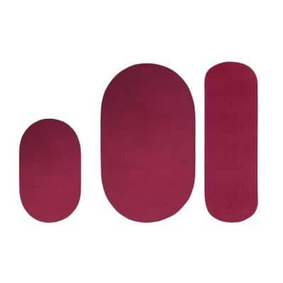 "Alpine Collection 3-Piece Burgundy Solid Braided Rug Set - (36"" x 54"" : 18"" x 54"" : 18"" x 28"")"