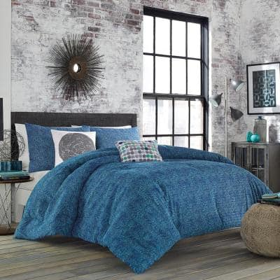 Identity 72 in. x 90 in. Gray/Blue-Green Twin Geometric Cotton Blend Duvet Cover