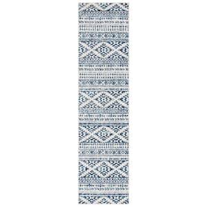 Tulum Ivory/Navy 2 ft. x 19 ft. Runner Rug