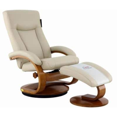 Hamilton Recliner and Ottoman in Beige Air Leather