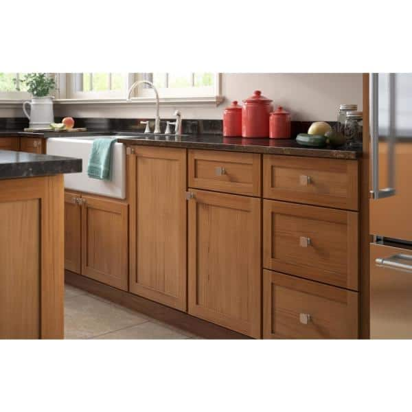 35mm Satin Nickel Square Cabinet Knob, Home Depot Kitchen Cabinet Hardware