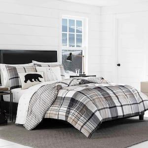 Normandy 3-Piece Black Plaid Micro Suede King Comforter Set