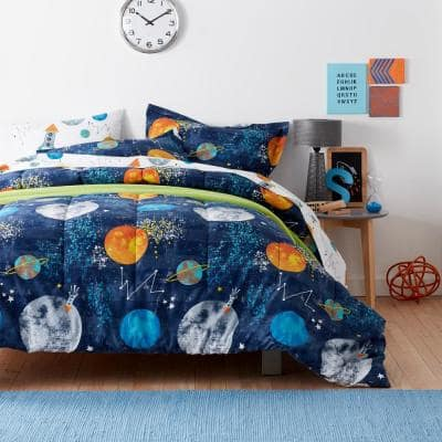 Space Travel Graphic Organic Cotton Percale Comforter