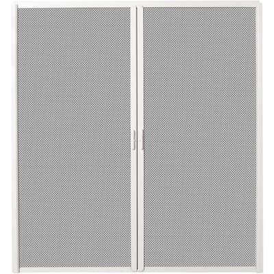 72 in. x 82 in. White Aluminum Inswing Retractable Double Screen Door