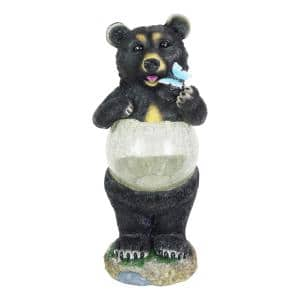 17 in. Tall Solar Bear with Crackle Ball Belly Garden Statue