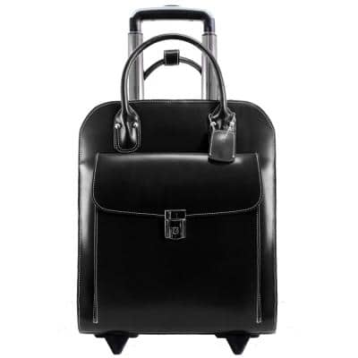 McKlein UPTOWN, Top Grain Cowhide Leather, 15 in Vertical Wheeled Ladies' Laptop Briefcase, Black (97695)