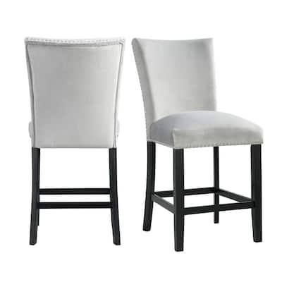Celine Gray Velvet Counter Height Chair Set