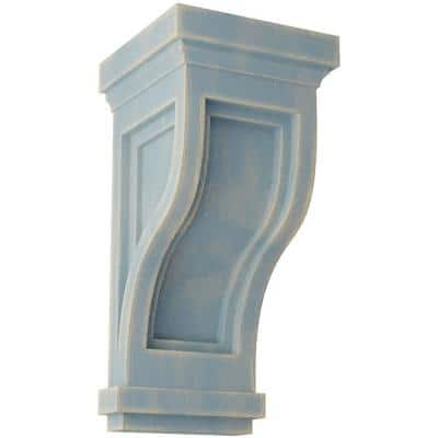 4-3/4 in. x 10 in. x 5 in. Driftwood Blue Traditional Recessed Wood Vintage Decor Corbel