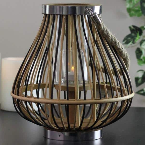 Northlight 11 In Rustic Chic Rattan Lantern Candle Holder 32036527 The Home Depot
