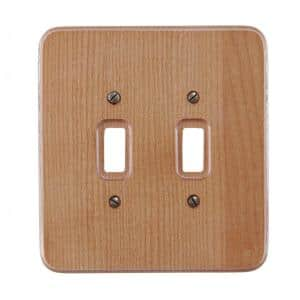Wood 2-Gang Toggle Wall Plate (1-Pack)