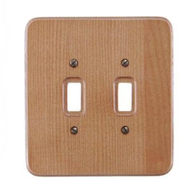 Wood 2-Gang Toggle Wall Plate (1-Pack)