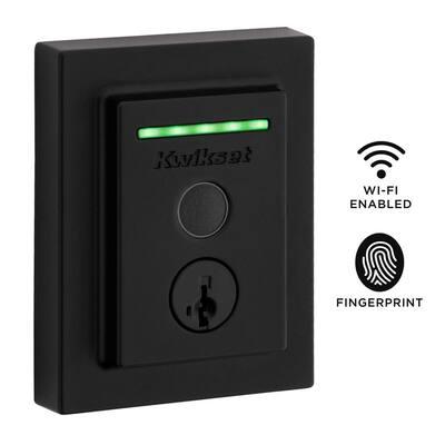 Halo Touch Matte Black Contemporary Fingerprint WiFi Elec Smart Lock Deadbolt Feat SmartKey Security and Halifax lever