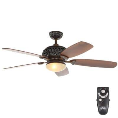 52 in. Indoor Caffe Patina Ceiling Fan with Light Kit and Remote Control