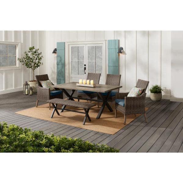 Hampton Bay Rock Cliff 6-Piece Brown Wicker Outdoor Patio Dining Set with Bench and Sunbrella Denim Blue Cushions   The Home Depot
