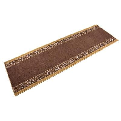 "Moroccan Trellis Border Cut to Size Brown Color 26"" Width x Your Choice Length Custom Size Slip Resistant Runner Rug"