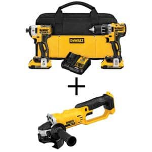 20-Volt MAX XR Cordless Brushless Drill/Impact Combo Kit (2-Tool) with (2) 20-Volt 2.0Ah Batteries & 4-1/2 in. Grinder